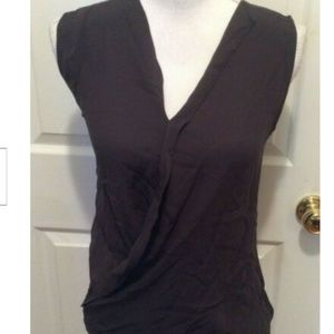 Theory Top S Dark Purple-Gray Sleeveless Solid
